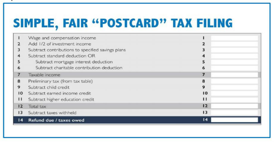 tax form postcard