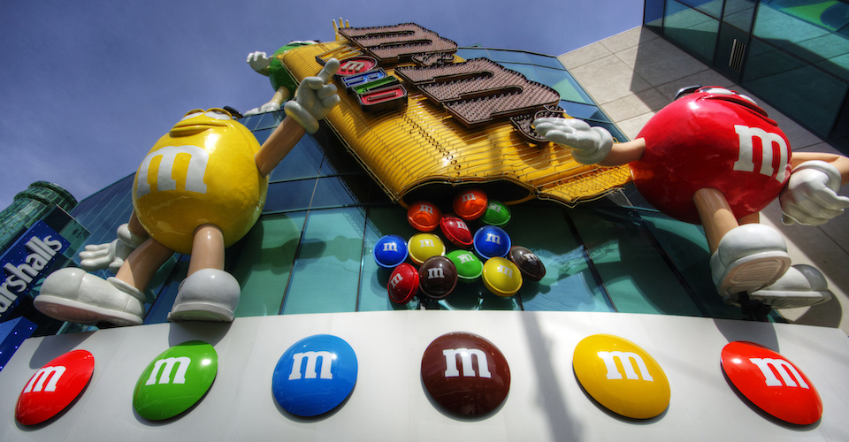 M&M characters on store front