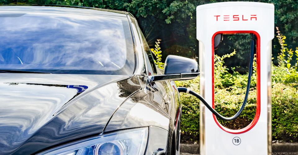 Tesla vehicle at charging station
