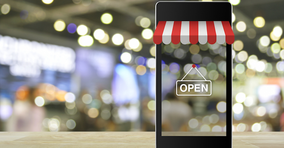 store front on mobile device