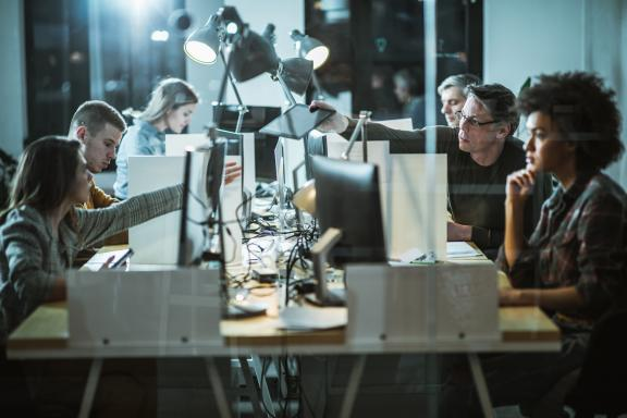 computer programmers working late